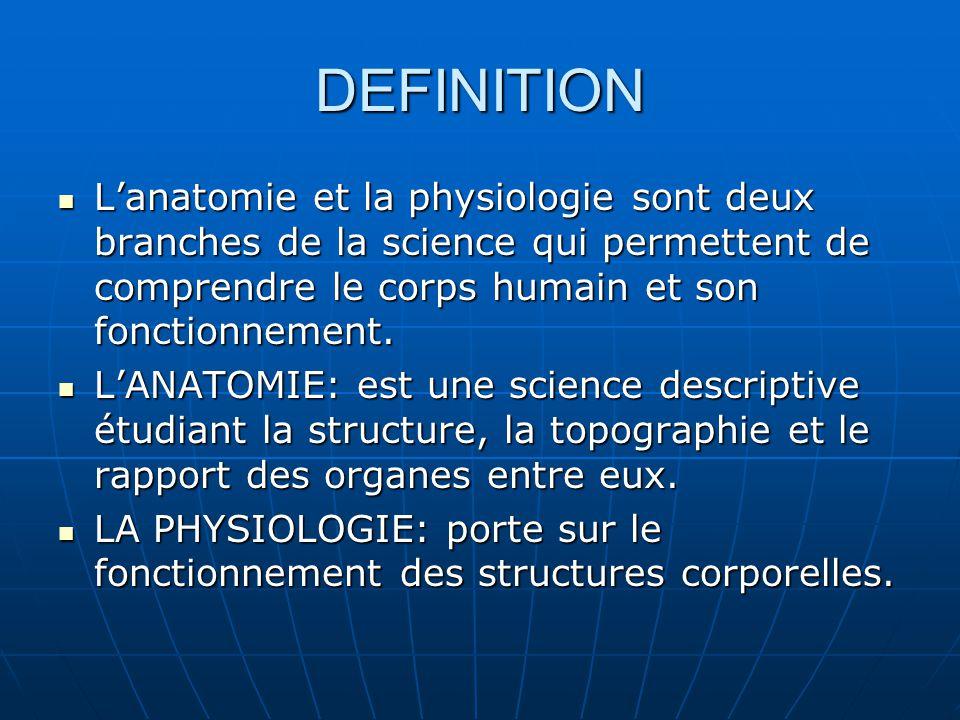 DEFINITION Lanatomie et la physiologie sont deux branches de la science qui permettent de comprendre le corps humain et son fonctionnement. Lanatomie