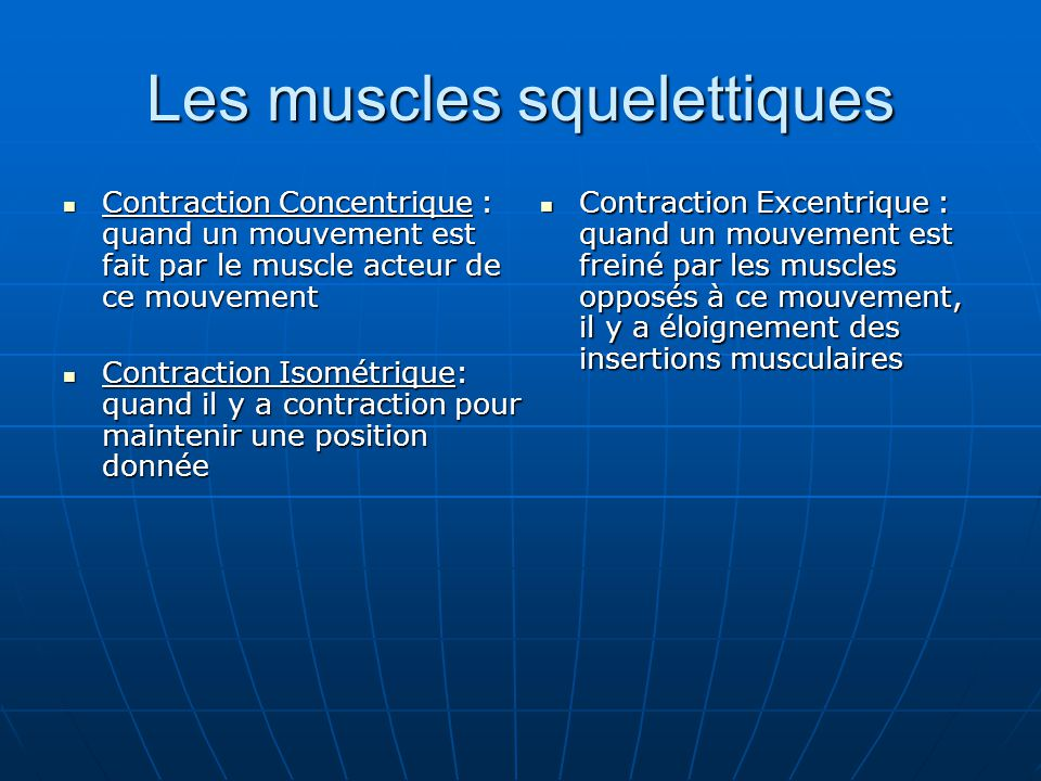 Les muscles squelettiques Contraction Concentrique : quand un mouvement est fait par le muscle acteur de ce mouvement Contraction Concentrique : quand
