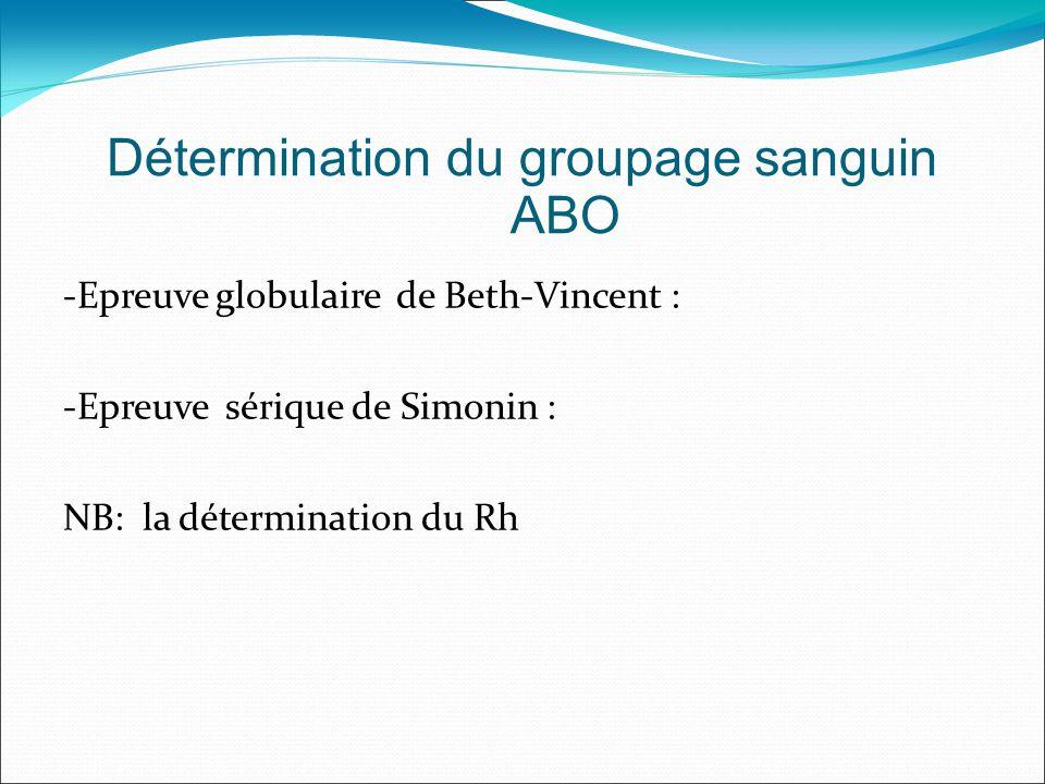 -Epreuve globulaire de Beth-Vincent : -Epreuve sérique de Simonin : NB: la détermination du Rh Détermination du groupage sanguin ABO