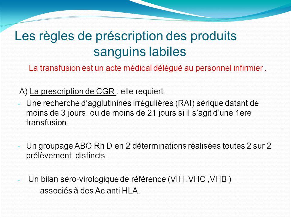 Les règles de préscription des produits sanguins labiles La transfusion est un acte médical délégué au personnel infirmier.