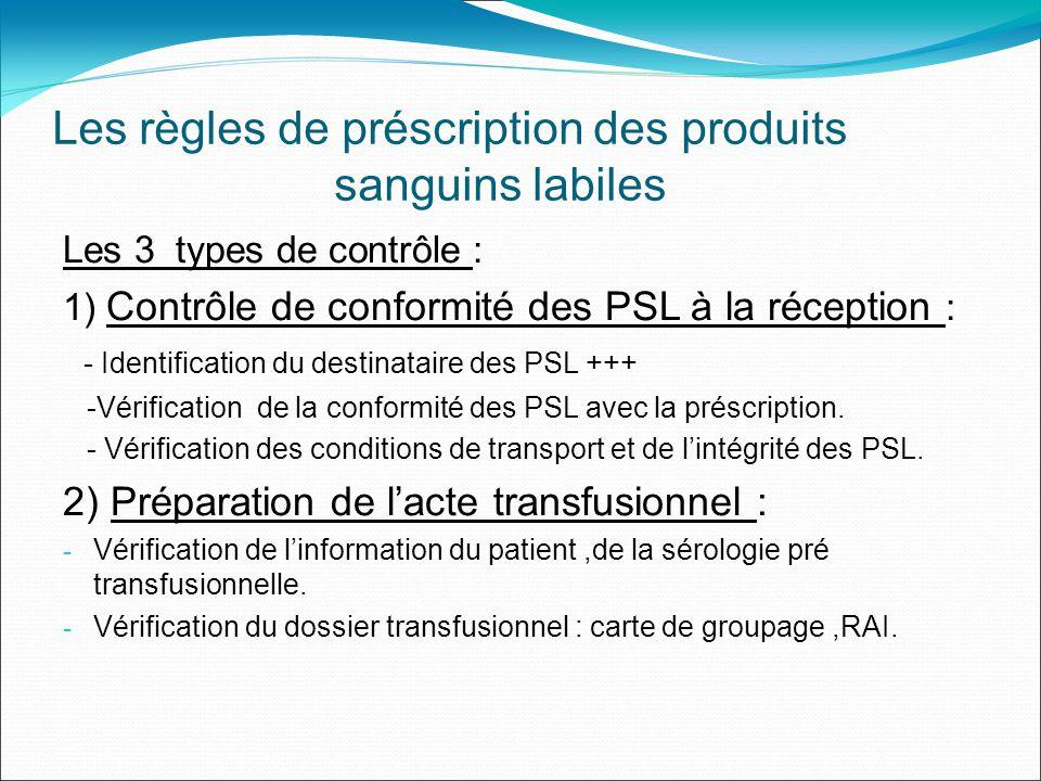 Les règles de préscription des produits sanguins labiles Les 3 types de contrôle : 1) Contrôle de conformité des PSL à la réception : - Identification du destinataire des PSL +++ -Vérification de la conformité des PSL avec la préscription.