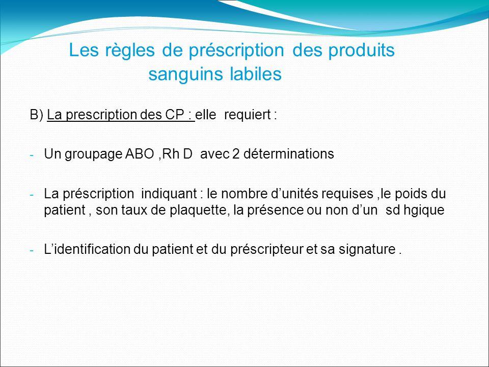 B) La prescription des CP : elle requiert : - Un groupage ABO,Rh D avec 2 déterminations - La préscription indiquant : le nombre dunités requises,le poids du patient, son taux de plaquette, la présence ou non dun sd hgique - Lidentification du patient et du préscripteur et sa signature.