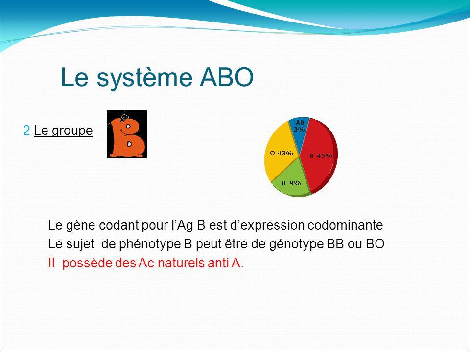 Le système ABO 3 Le groupe Les gènes codant pour lAg A et lAg B sont donc dexpression codominante et sont présents tous les deux sur les GR et ainsi le sujet de phénotype AB ne peut être que de génotype AB et il ne possède pas d Ac naturels +++.
