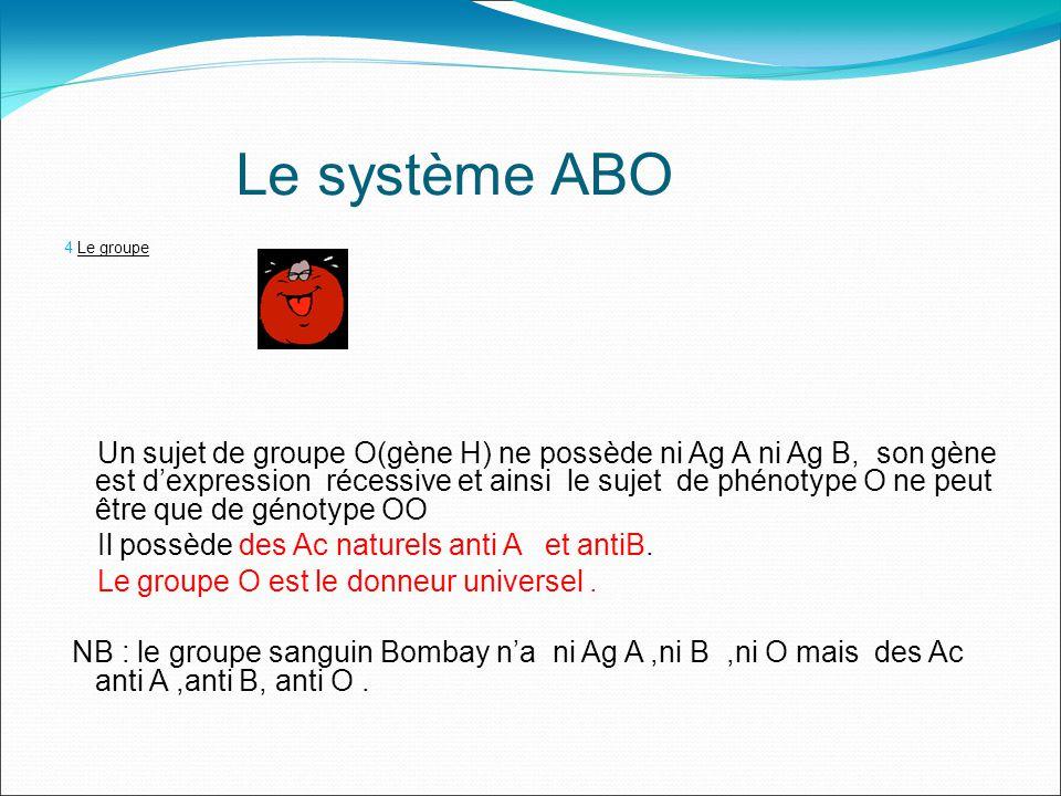Le système ABO 4 Le groupe Un sujet de groupe O(gène H) ne possède ni Ag A ni Ag B, son gène est dexpression récessive et ainsi le sujet de phénotype O ne peut être que de génotype OO Il possède des Ac naturels anti A et antiB.