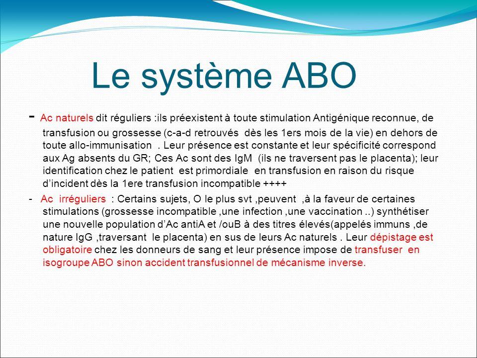 Le système ABO - Ac naturels dit réguliers :ils préexistent à toute stimulation Antigénique reconnue, de transfusion ou grossesse (c-a-d retrouvés dès les 1ers mois de la vie) en dehors de toute allo-immunisation.