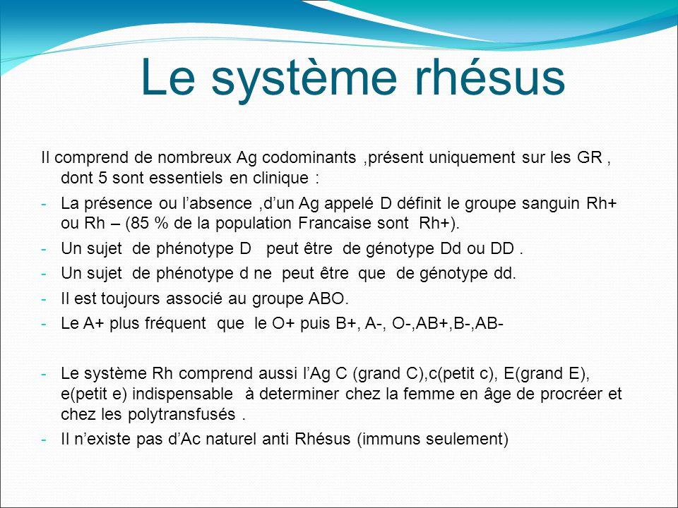 Le système rhésus Il comprend de nombreux Ag codominants,présent uniquement sur les GR, dont 5 sont essentiels en clinique : - La présence ou labsence,dun Ag appelé D définit le groupe sanguin Rh+ ou Rh – (85 % de la population Francaise sont Rh+).