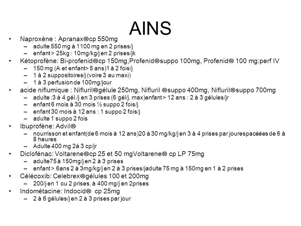 AINS Naproxène : Apranax cp 550mg –adulte 550 mg à 1100 mg en 2 prises/j –enfant > 25kg : 10mg/kg/j en 2 prises/jk Kétoprofène: Bi-profenid cp 150mg,Profenid suppo 100mg, Profenid 100 mg:perf IV –150 mg (A et enfant> 5 ans)1 à 2 fois/j –1 à 2 suppositoires/j (voire 3 au maxi) –1 à 3 perfusion de 100mg/jour acide niflumique : Nifluril gélule 250mg, Nifluril suppo 400mg, Nifluril suppo 700mg –adulte :3 à 4 gél./j en 3 prises (6 gél/j.