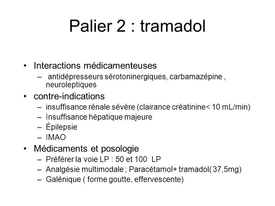 Palier 2 : tramadol Interactions médicamenteuses – antidépresseurs sérotoninergiques, carbamazépine, neuroleptiques contre-indications –insuffisance rénale sévère (clairance créatinine< 10 mL/min) –Insuffisance hépatique majeure –Épilepsie –IMAO Médicaments et posologie –Préférer la voie LP : 50 et 100 LP –Analgésie multimodale ; Paracétamol+ tramadol( 37,5mg) –Galénique ( forme goutte, effervescente)