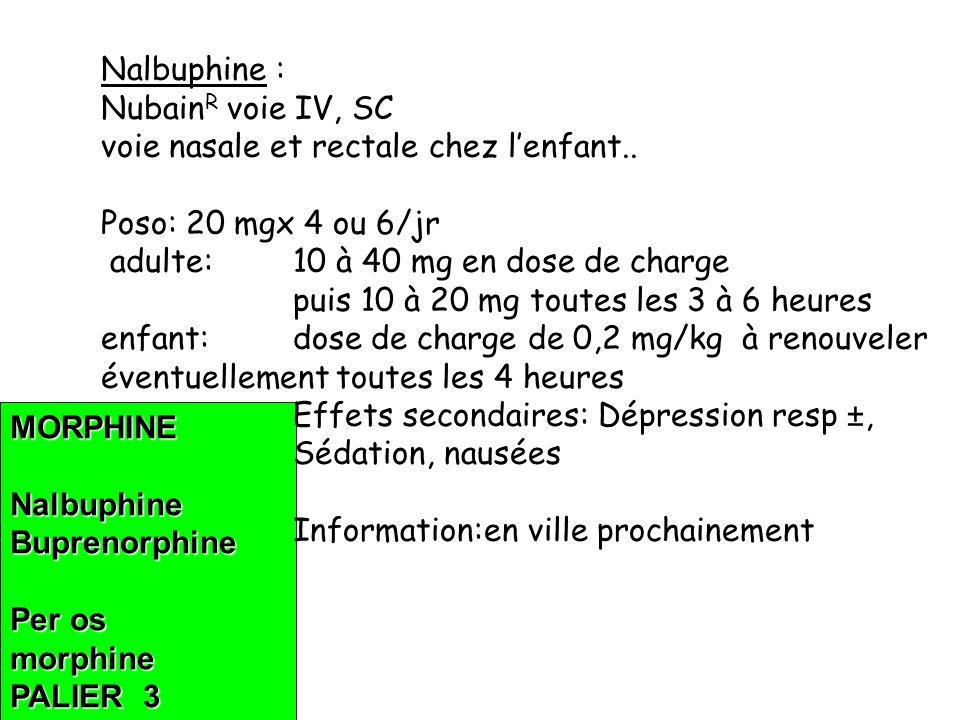 MORPHINENalbuphineBuprenorphine Per os morphine PALIER 3 Nalbuphine : Nubain R voie IV, SC voie nasale et rectale chez lenfant..