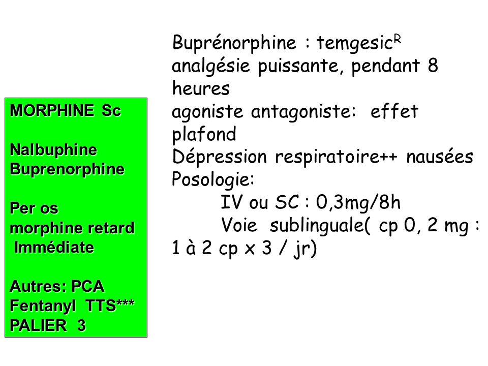 MORPHINE Sc NalbuphineBuprenorphine Per os morphine retard Immédiate Immédiate Autres: PCA Fentanyl TTS*** PALIER 3 Buprénorphine : temgesic R analgésie puissante, pendant 8 heures agoniste antagoniste: effet plafond Dépression respiratoire++ nausées Posologie: IV ou SC : 0,3mg/8h Voie sublinguale( cp 0, 2 mg : 1 à 2 cp x 3 / jr)