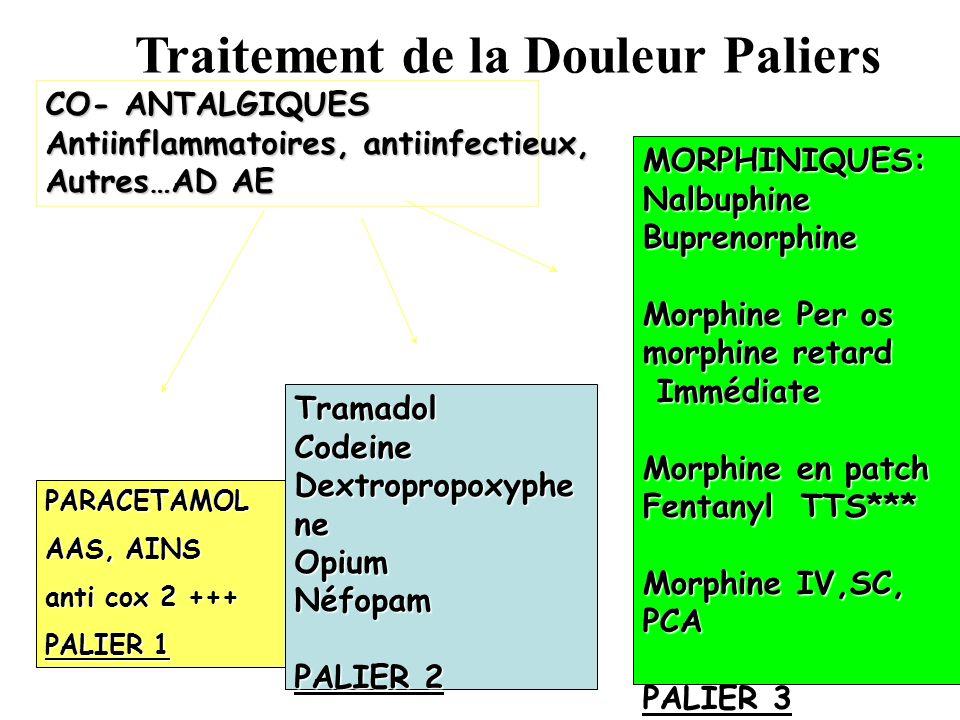 PARACETAMOL AAS, AINS anti cox 2 +++ PALIER 1 TramadolCodeine Dextropropoxyphe ne OpiumNéfopam PALIER 2 MORPHINIQUES:NalbuphineBuprenorphine Morphine Per os morphine retard Immédiate Immédiate Morphine en patch Fentanyl TTS*** Morphine IV,SC, PCA PALIER 3 CO- ANTALGIQUES Antiinflammatoires, antiinfectieux, Autres…AD AE Traitement de la Douleur Paliers