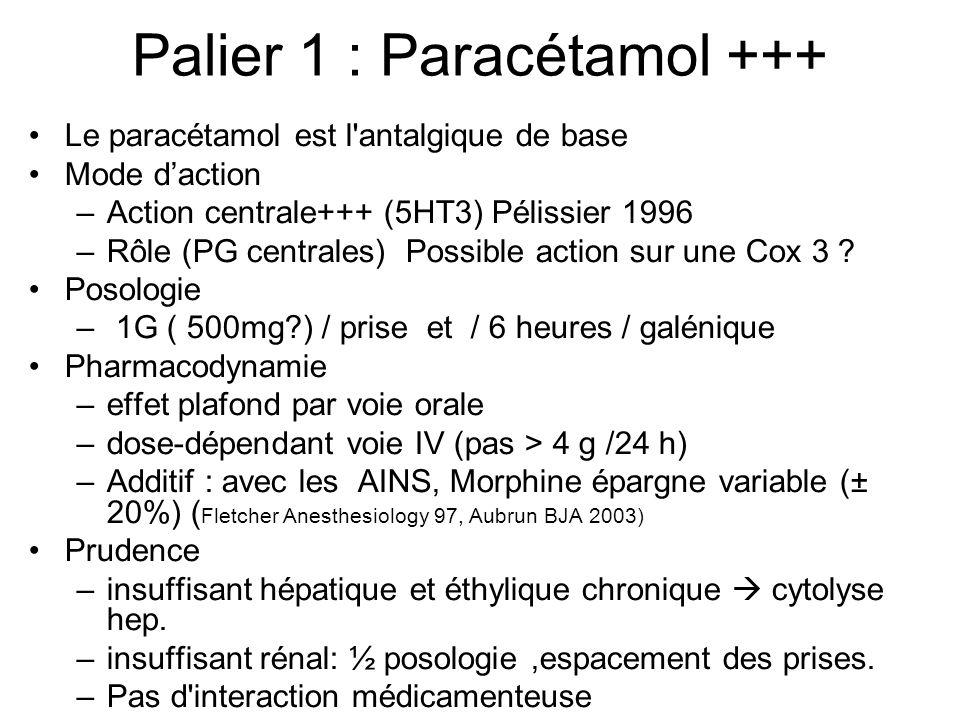 Palier 1 : Paracétamol +++ Le paracétamol est l antalgique de base Mode daction –Action centrale+++ (5HT3) Pélissier 1996 –Rôle (PG centrales) Possible action sur une Cox 3 .