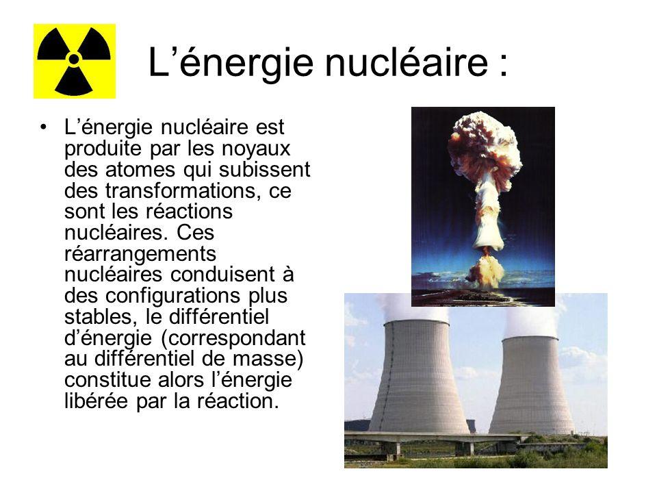 Lénergie nucléaire : Lénergie nucléaire est produite par les noyaux des atomes qui subissent des transformations, ce sont les réactions nucléaires.
