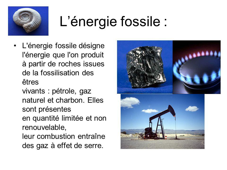 Lénergie fossile : L énergie fossile désigne l énergie que l on produit à partir de roches issues de la fossilisation des êtres vivants : pétrole, gaz naturel et charbon.