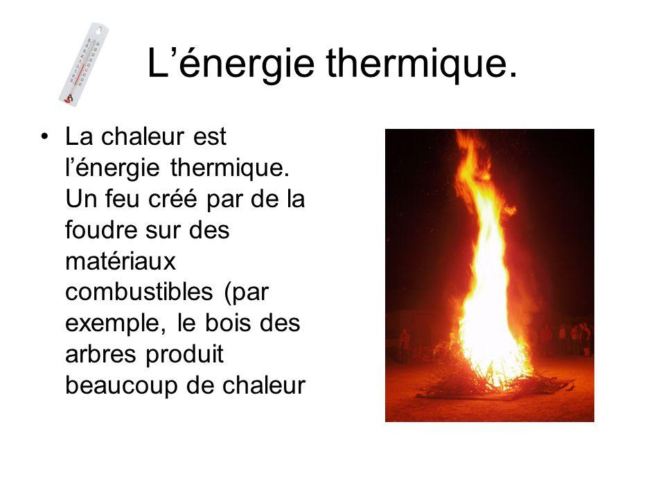 Lénergie thermique.La chaleur est lénergie thermique.