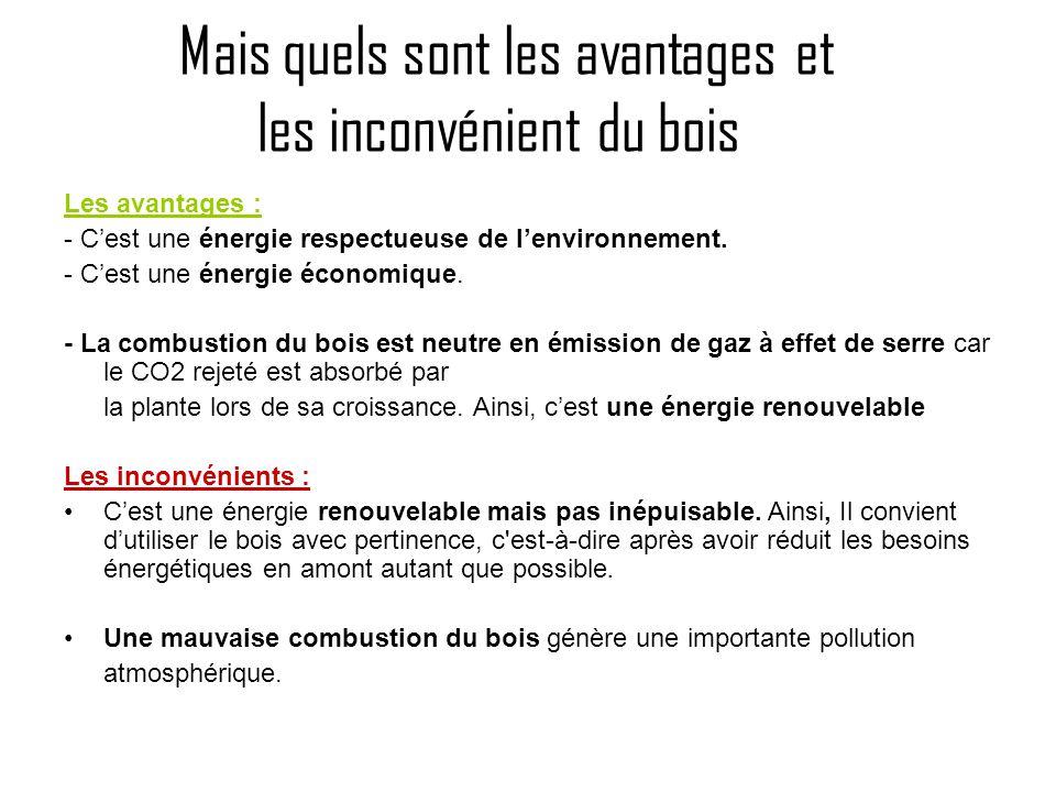 Mais quels sont les avantages et les inconvénient du bois Les avantages : - Cest une énergie respectueuse de lenvironnement. - Cest une énergie économ