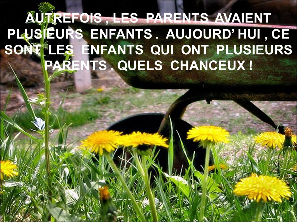 AUTREFOIS, LES PARENTS AVAIENT PLUSIEURS ENFANTS.