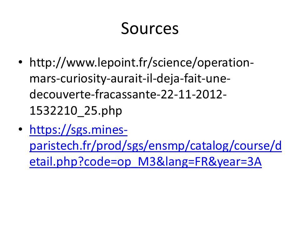 Sources http://www.lepoint.fr/science/operation- mars-curiosity-aurait-il-deja-fait-une- decouverte-fracassante-22-11-2012- 1532210_25.php https://sgs