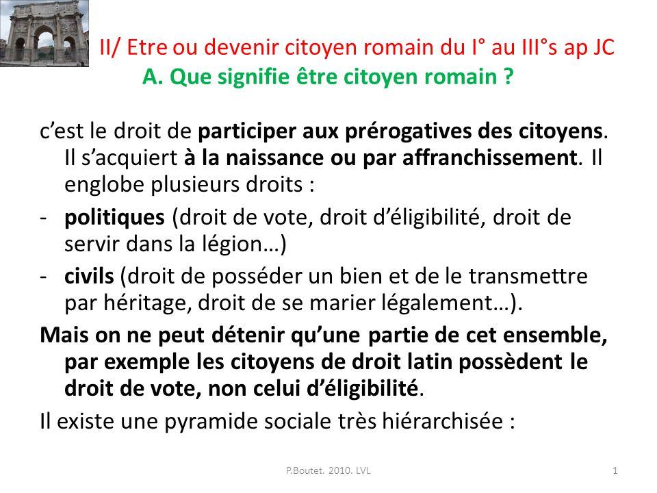 II/ Etre ou devenir citoyen romain du I° au III°s ap JC A. Que signifie être citoyen romain ? cest le droit de participer aux prérogatives des citoyen