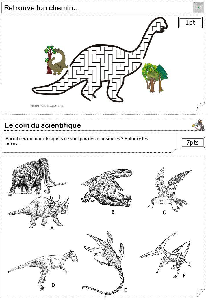 Retrouve ton chemin... 3 1pt Le coin du scientifique 7pts Parmi ces animaux lesquels ne sont pas des dinosaures ? Entoure les intrus.