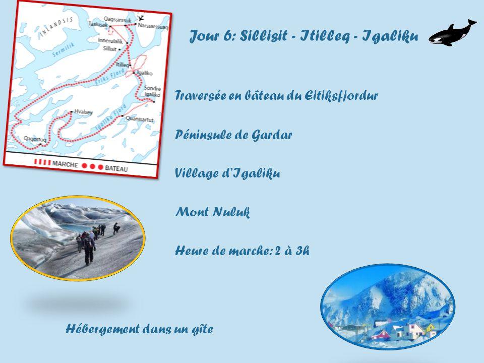 Jour 6: Sillisit - Itilleq - Igaliku Traversée en bâteau du Eitiksfjordur Péninsule de Gardar Village dIgaliku Mont Nuluk Heure de marche: 2 à 3h Hébergement dans un gîte