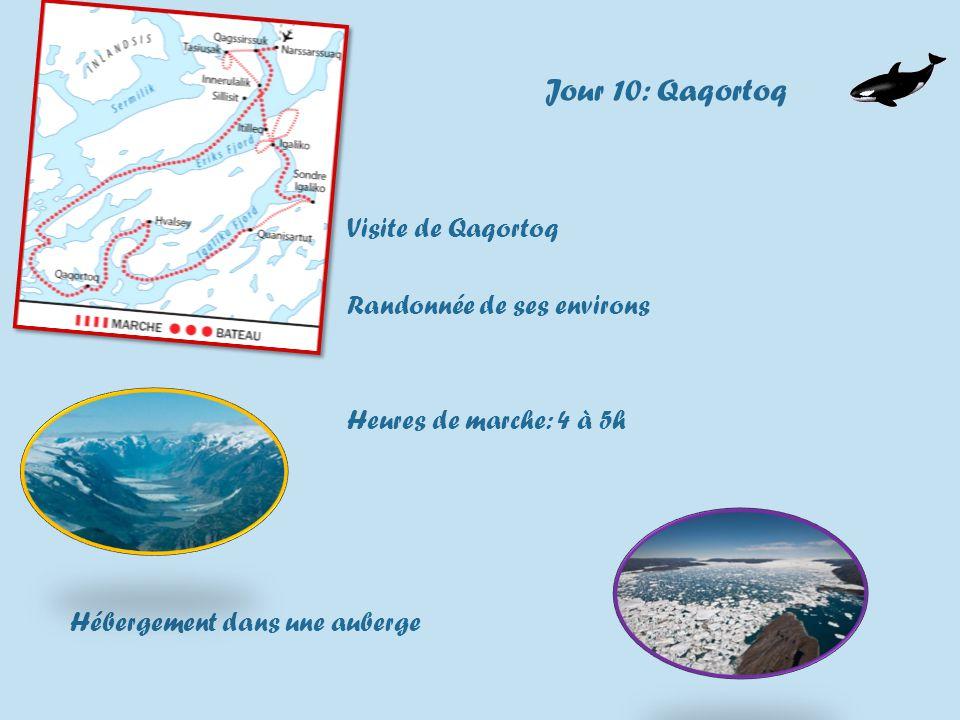 Jour 10: Qaqortoq Visite de Qaqortoq Randonnée de ses environs Heures de marche: 4 à 5h Hébergement dans une auberge