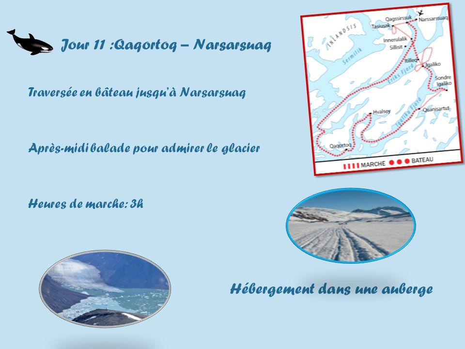Jour 11 :Qaqortoq – Narsarsuaq Traversée en bâteau jusquà Narsarsuaq Après-midi balade pour admirer le glacier Heures de marche: 3h Hébergement dans une auberge