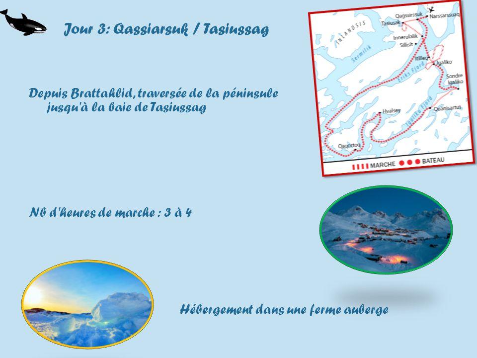 Jour 3: Qassiarsuk / Tasiussag Depuis Brattahlid, traversée de la péninsule jusqu à la baie de Tasiussag Nb d heures de marche : 3 à 4 Hébergement dans une ferme auberge