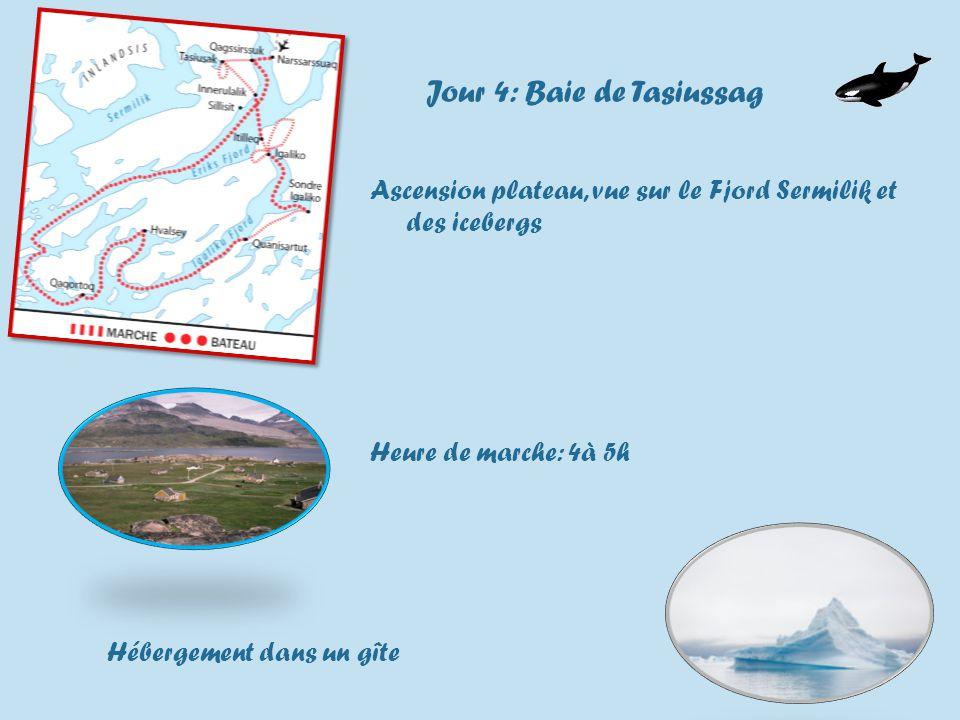 Jour 4: Baie de Tasiussag Ascension plateau, vue sur le Fjord Sermilik et des icebergs Heure de marche: 4à 5h Hébergement dans un gîte