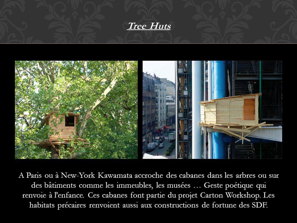 Tree Huts A Paris ou à New-York Kawamata accroche des cabanes dans les arbres ou sur des bâtiments comme les immeubles, les musées … Geste poétique qu