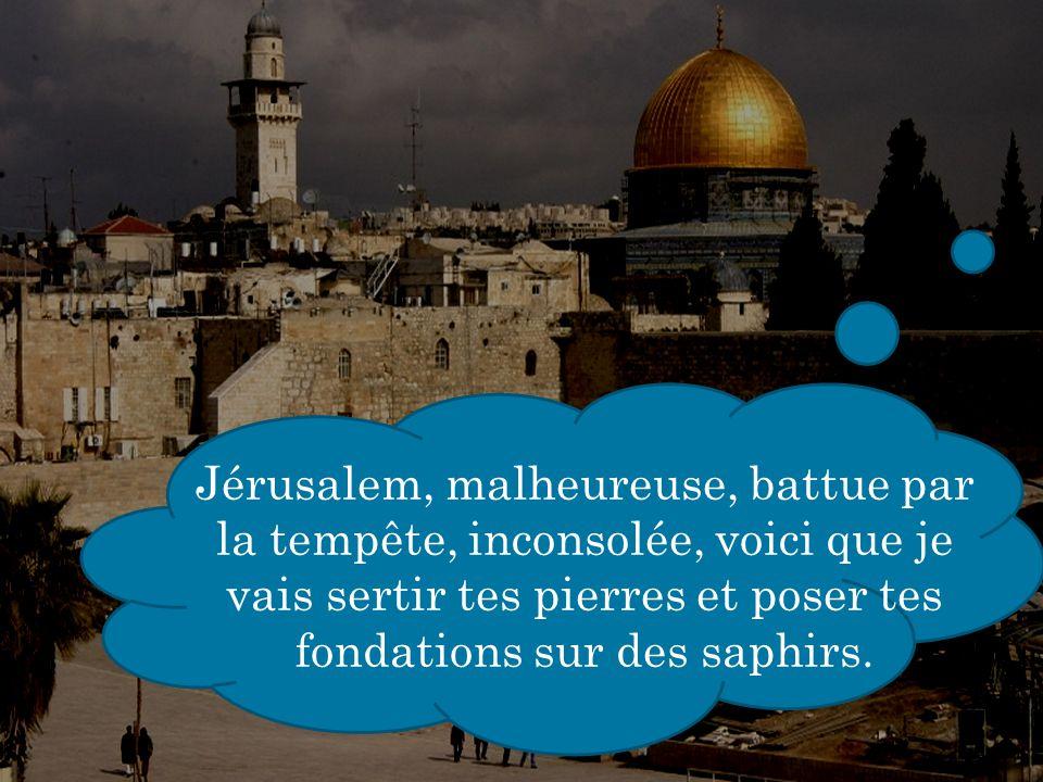 Jérusalem, malheureuse, battue par la tempête, inconsolée, voici que je vais sertir tes pierres et poser tes fondations sur des saphirs.