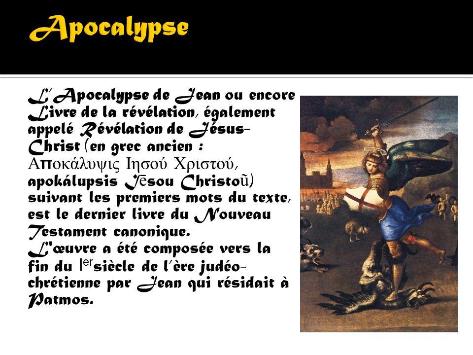 Les évangiles selon St Jean, la « bête de l'Apocalypse » est une bête à sept têtes et dix cornes, qui représente un système politique dont le pouvoir,