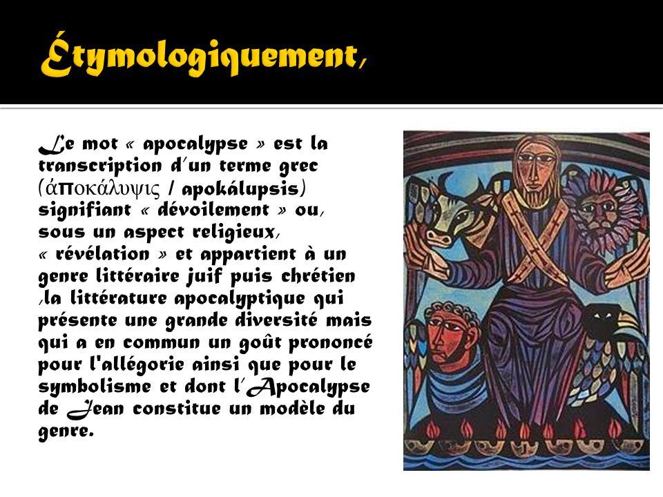 LApocalypse de Jean ou encore Livre de la révélation, également appelé Révélation de Jésus- Christ (en grec ancien : Α π οκάλυψις Ι ησού Χ ριστού, apo