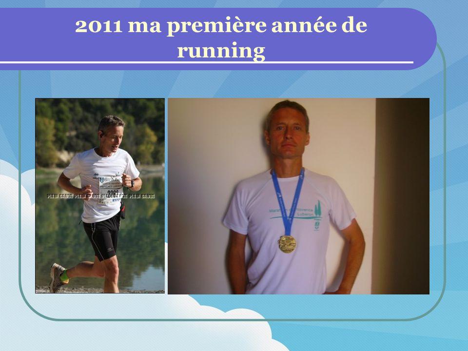 Ma 1 ère année de running en chiffre : 1 marathon 2 semi marathons 3 courses 10km FFA 10 trails de 10km à 17.5km 18 courses en 2011 sur 275 km 2600 km à lentrainement Record vitesse en 2011 : 45mn19 sur 10km 1h43 au semi marathon 4h01 au marathon