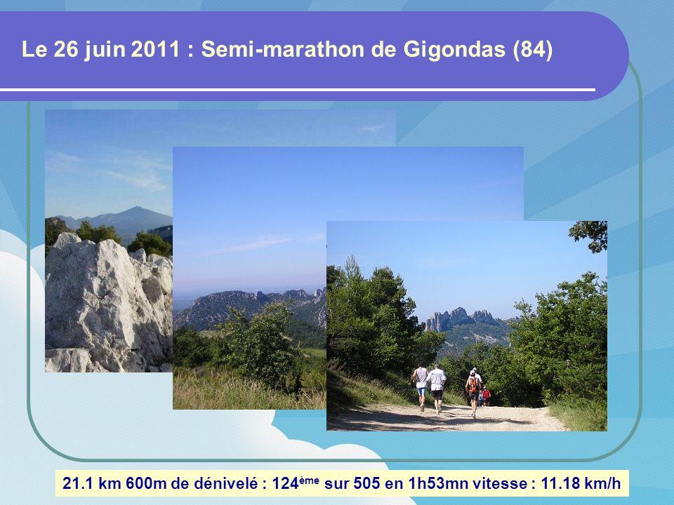 Le 12 juin 2011 : Trail à Saint-Victor (Gard) 13.5 km 250m de dénivelé : 66 ème sur 157 en 1h08mn vitesse : 11.88 km/h