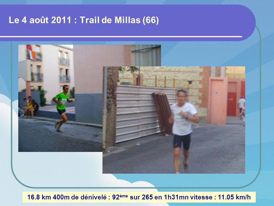 Le 10 juillet 2011 : Trail à Sérignan (Vaucluse) 12 km 150m de dénivelé : 105 ème sur 224 en 1h02mn vitesse : 11.58 km/h