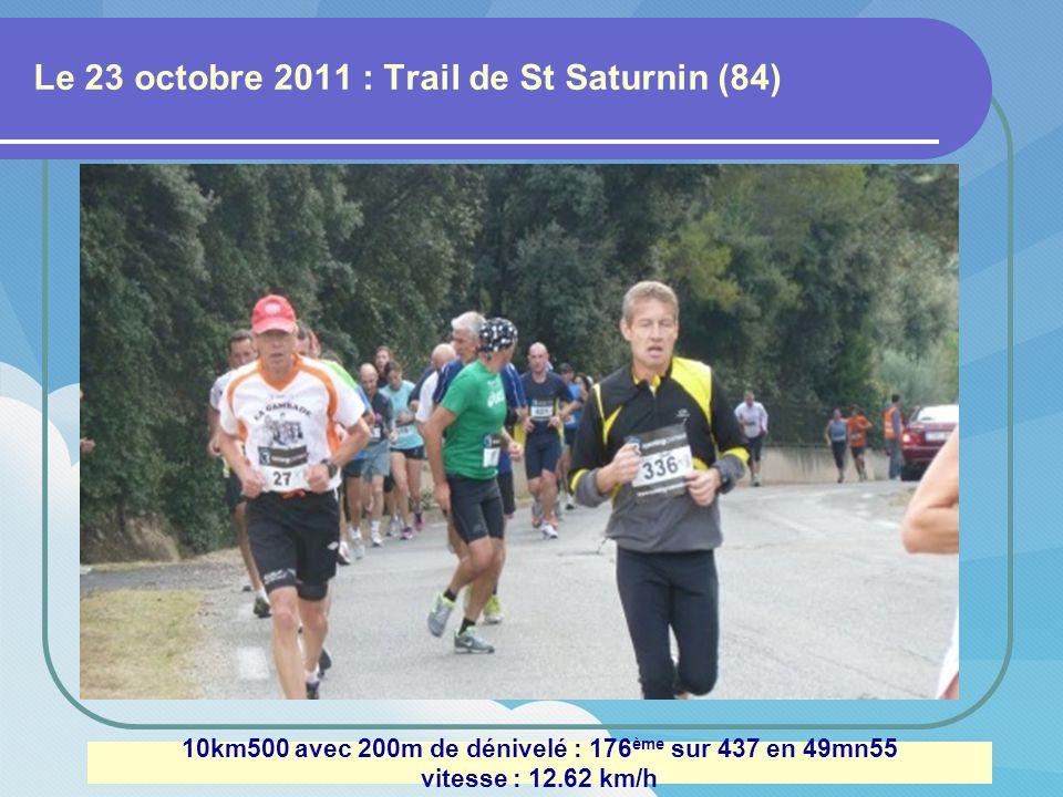 Le 2 octobre 2011 : Marathon du Luberon 42km195 avec 200m de dénivelé : 74 ème sur 216 en 4h01 vitesse : 10.50 km/h