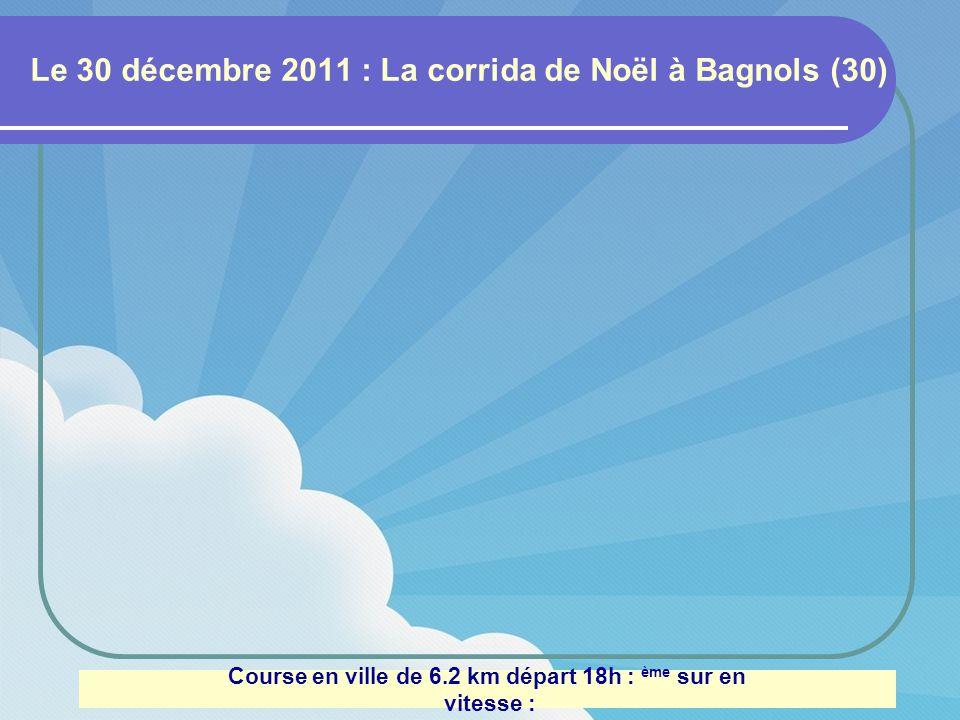 Le 4 décembre 2011 : Beaumes de Venise (84) Trail de 13 km et 300m de dénivelé : 101 ème sur 368 en 1h02 vitesse : 12.77 km/h