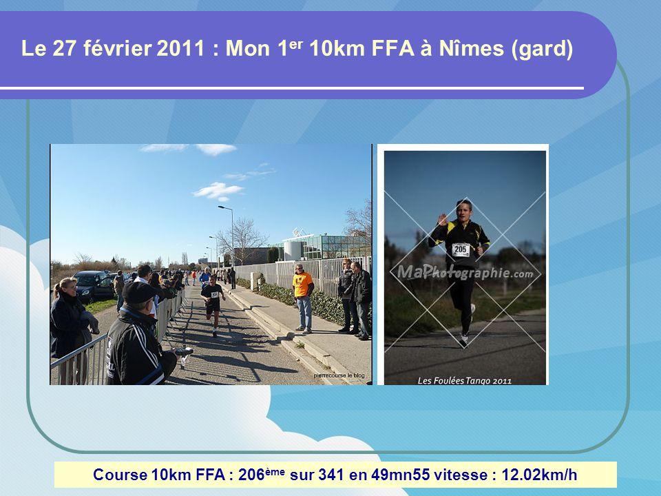 Le 27 février 2011 : Mon 1 er 10km FFA à Nîmes (gard) Course 10km FFA : 206 ème sur 341 en 49mn55 vitesse : 12.02km/h
