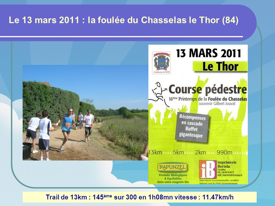 Le 13 mars 2011 : la foulée du Chasselas le Thor (84) Trail de 13km : 145 ème sur 300 en 1h08mn vitesse : 11.47km/h