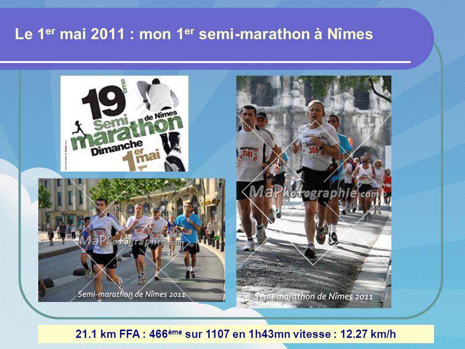 Le 13 novembre 2011 : Trail à Vaison-la-Romaine (84) 11.5 Km 200m de dénivelé : 124 ème sur 289 en 54mn42 vitesse : 12.61 km/h