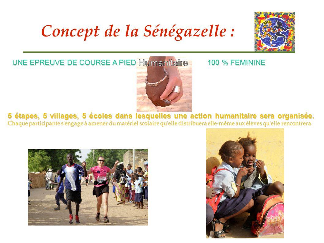 Concept de la Sénégazelle : UNE EPREUVE DE COURSE A PIED 100 % FEMININE 5 étapes, 5 villages, 5 écoles dans lesquelles une action humanitaire sera org