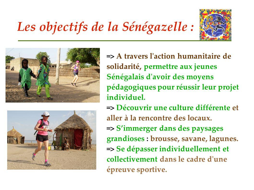 Les objectifs de la Sénégazelle : => A travers l'action humanitaire de solidarité, permettre aux jeunes Sénégalais d'avoir des moyens pédagogiques pou