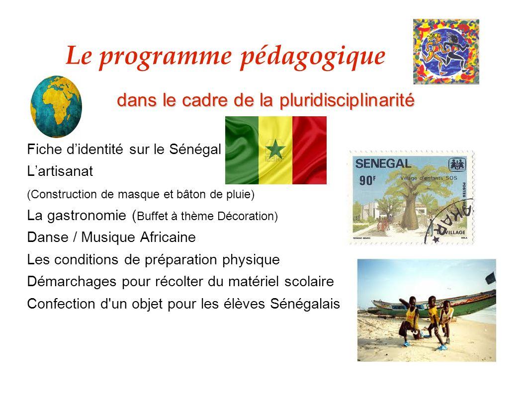 dans le cadre de la pluridisciplinarité Fiche didentité sur le Sénégal Lartisanat (Construction de masque et bâton de pluie) La gastronomie ( Buffet à