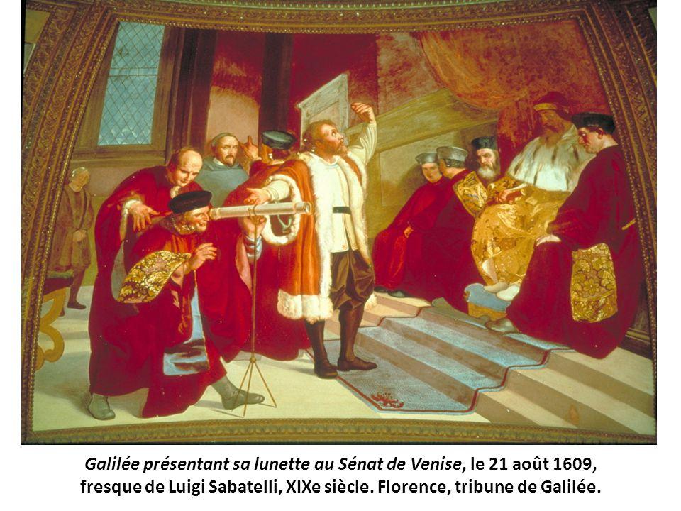 Galilée présentant sa lunette au Sénat de Venise, le 21 août 1609, fresque de Luigi Sabatelli, XIXe siècle. Florence, tribune de Galilée.