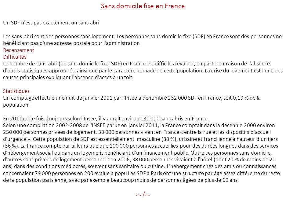 Sans domicile fixe en France Un SDF n est pas exactement un sans abri Les sans-abri sont des personnes sans logement.