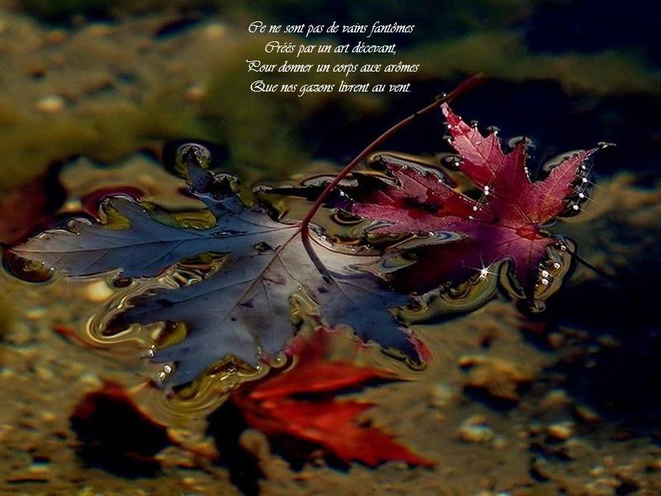 Voyez-vous de l'or de ces urnes S'échapper ces esprits des fleurs, Tout trempés de parfums nocturnes, Tout vêtus de fraîches couleurs ?