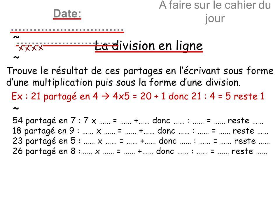 A faire sur le cahier du jour La division en ligne Date: ………………………… ……………………… ~ ~ Trouve le résultat de ces partages en lécrivant sous forme dune mult
