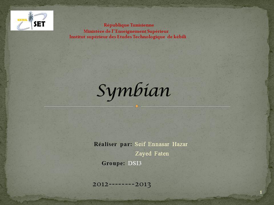 Réaliser par: Seif Ennasar Hazar Zayed Faten Groupe: DSI3 2012--------2013 République Tunisienne Ministère de lEnseignement Supérieur Institut supérie