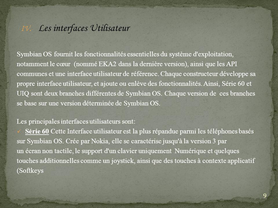 IV. Les interfaces Utilisateur Symbian OS fournit les fonctionnalités essentielles du système d'exploitation, notamment le cœur (nommé EKA2 dans la de